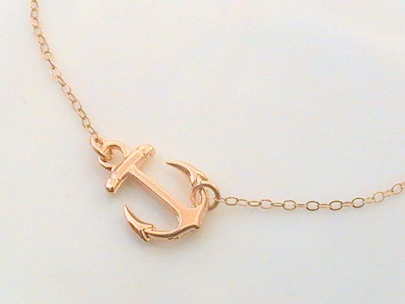 Rose gold anchor necklace dainty necklace silver nautical jewelry