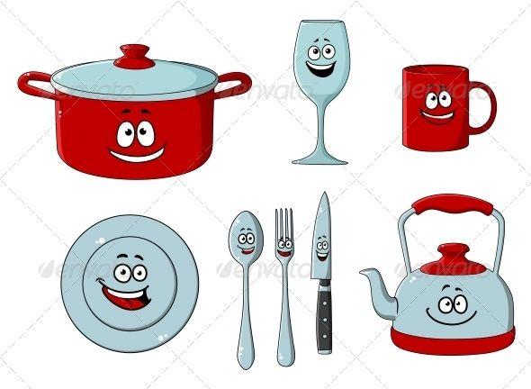 Cartoon Cooking Utensils Graphicriver Cartoon Dishware And