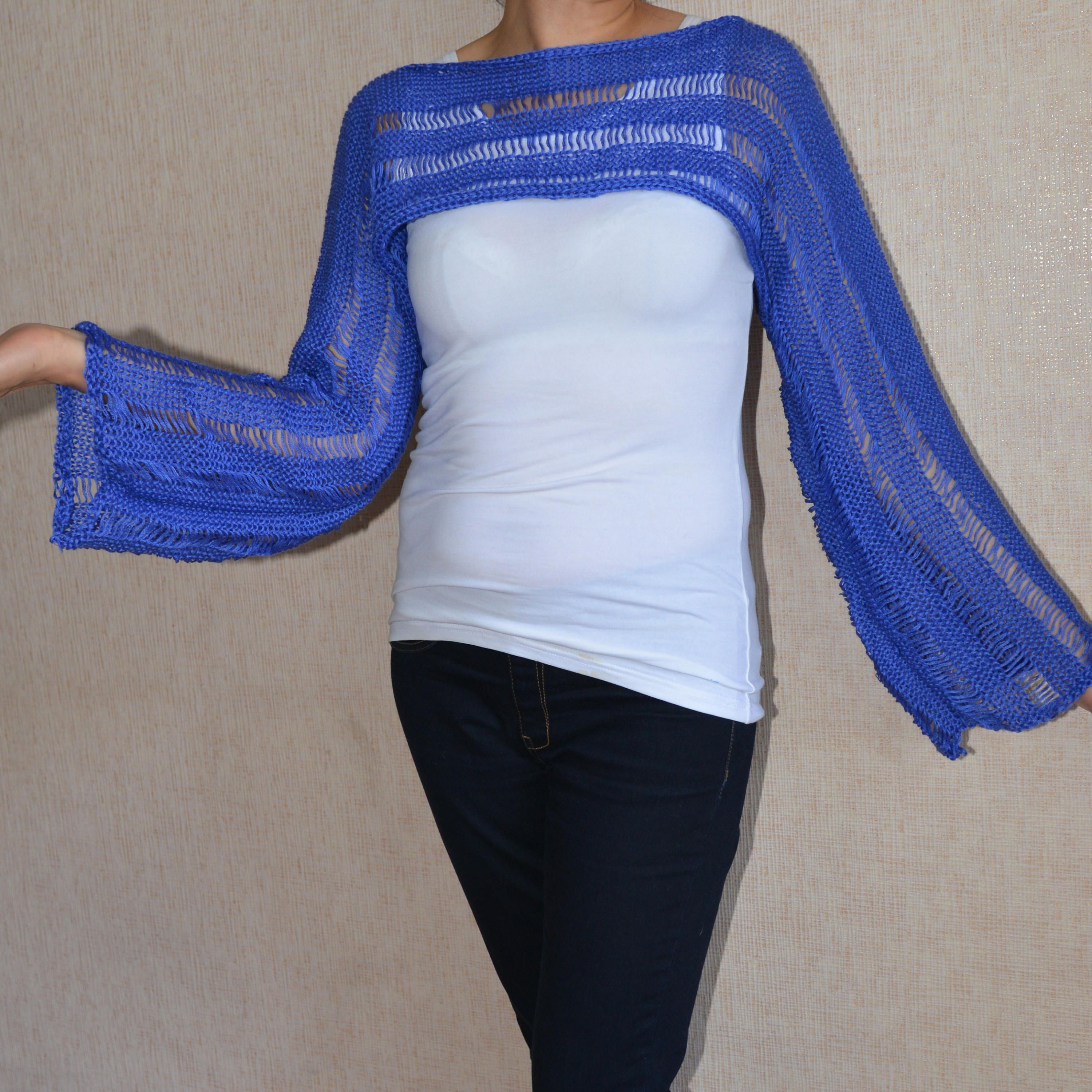 Loose knit sweater blue cropped sweater shot summer shrug hand