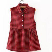 Mujeres plaid blusas plisadas estilo sin mangas del verano dan vuelta abajo camisa blusa feminina oficina casual wear tops WT176