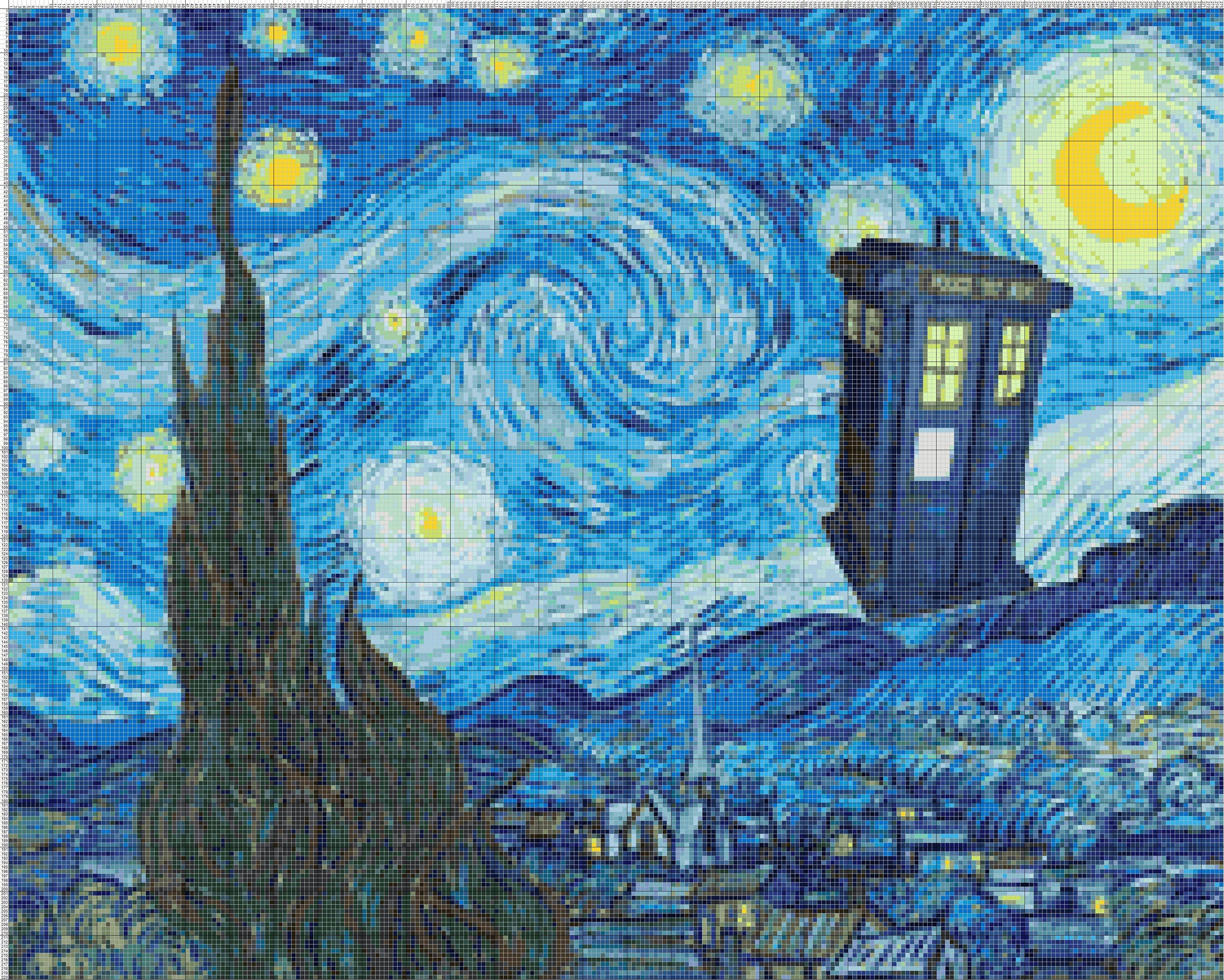 Buy 2 Get 1 Free Van Gogh Starry Night Doctor Who Tardis 843 Cross Stitch Pattern Counted Cross Stitch Chart Pdf Format Instant Download With Images Starry Night Van Gogh Starry