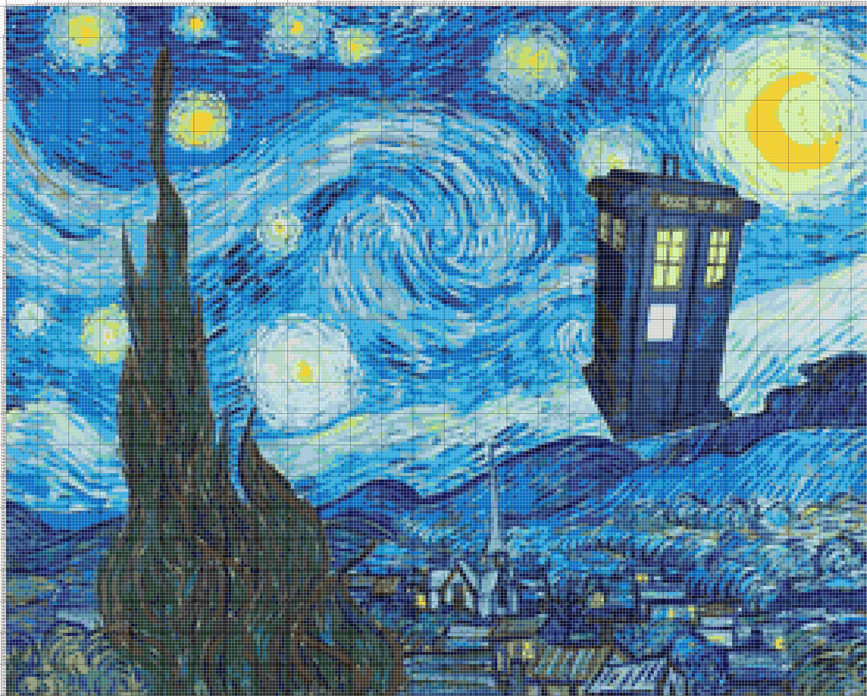 Buy 2 Get 1 Free Van Gogh Starry Night Doctor Who Tardis 843