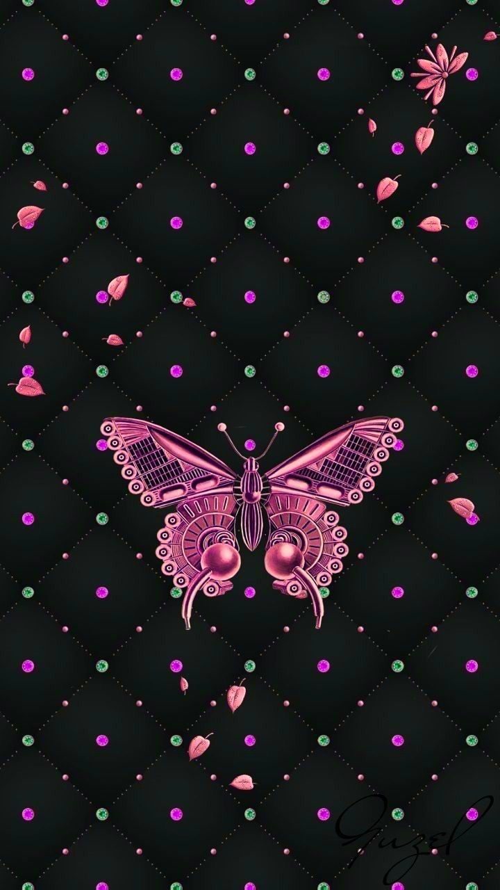 Black And Pink Butterfly Butterfly Wallpaper Iphone Wallpaper