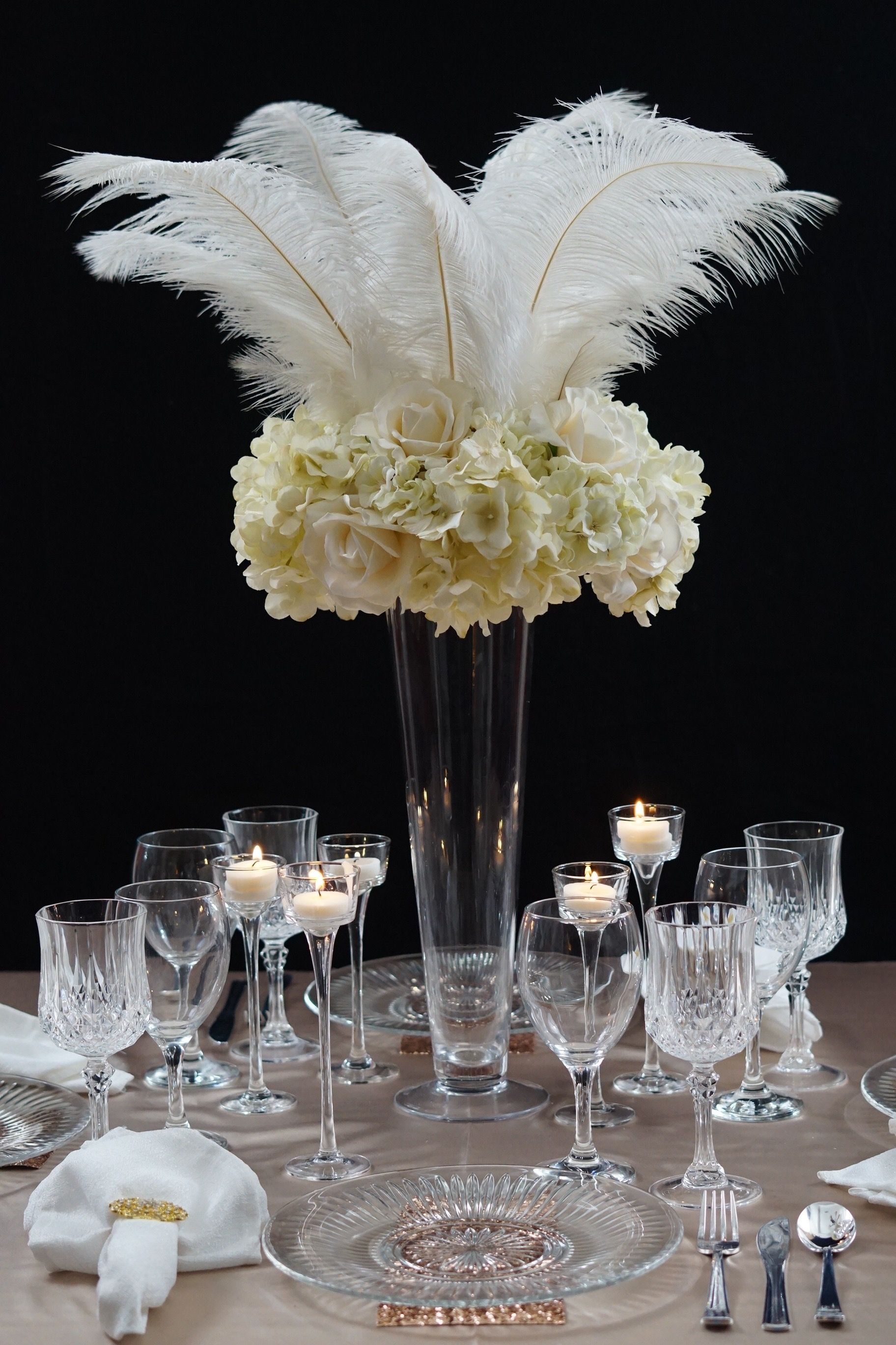 Roaring 20s Great Gatsby Inspired Feather Wedding Centerpiece Feather Centerpiece Wedding Gatsby Party Decorations Roaring 20s Wedding