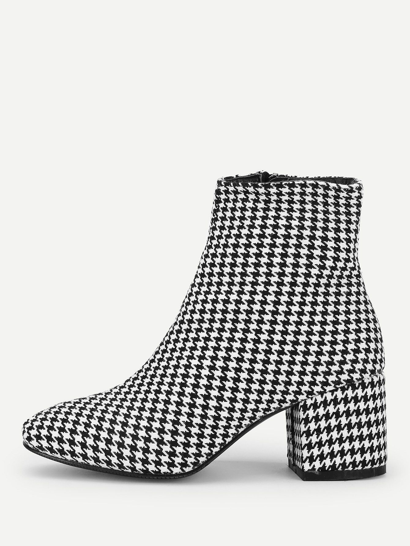 c4fbae68053a Elegant Almond Toe Houndstooth Ankle Side zipper Black and White Mid Heel  Chunky Houndstooth Side Zipper Boots