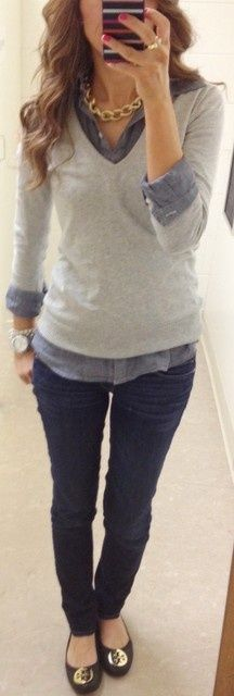 gray sweater/ chambray