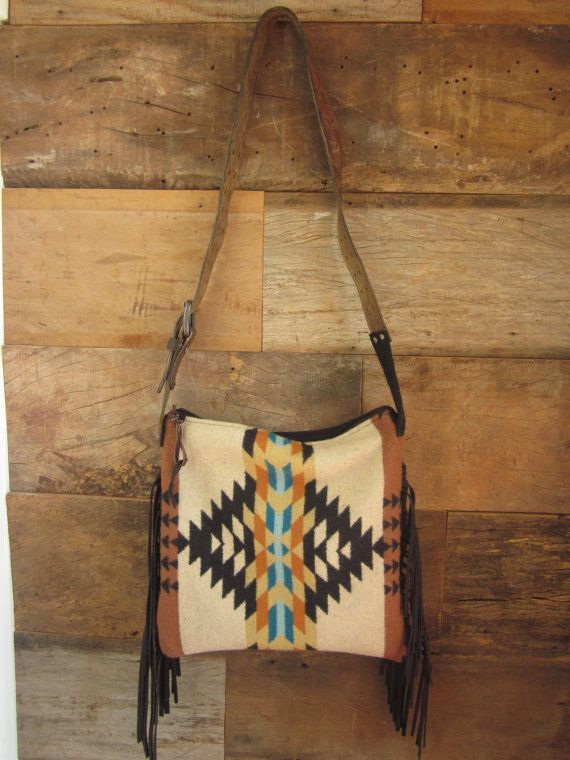 63212789ca Tan and Teal wool purse with leather fringe  by MercyGreyDesignCo ...