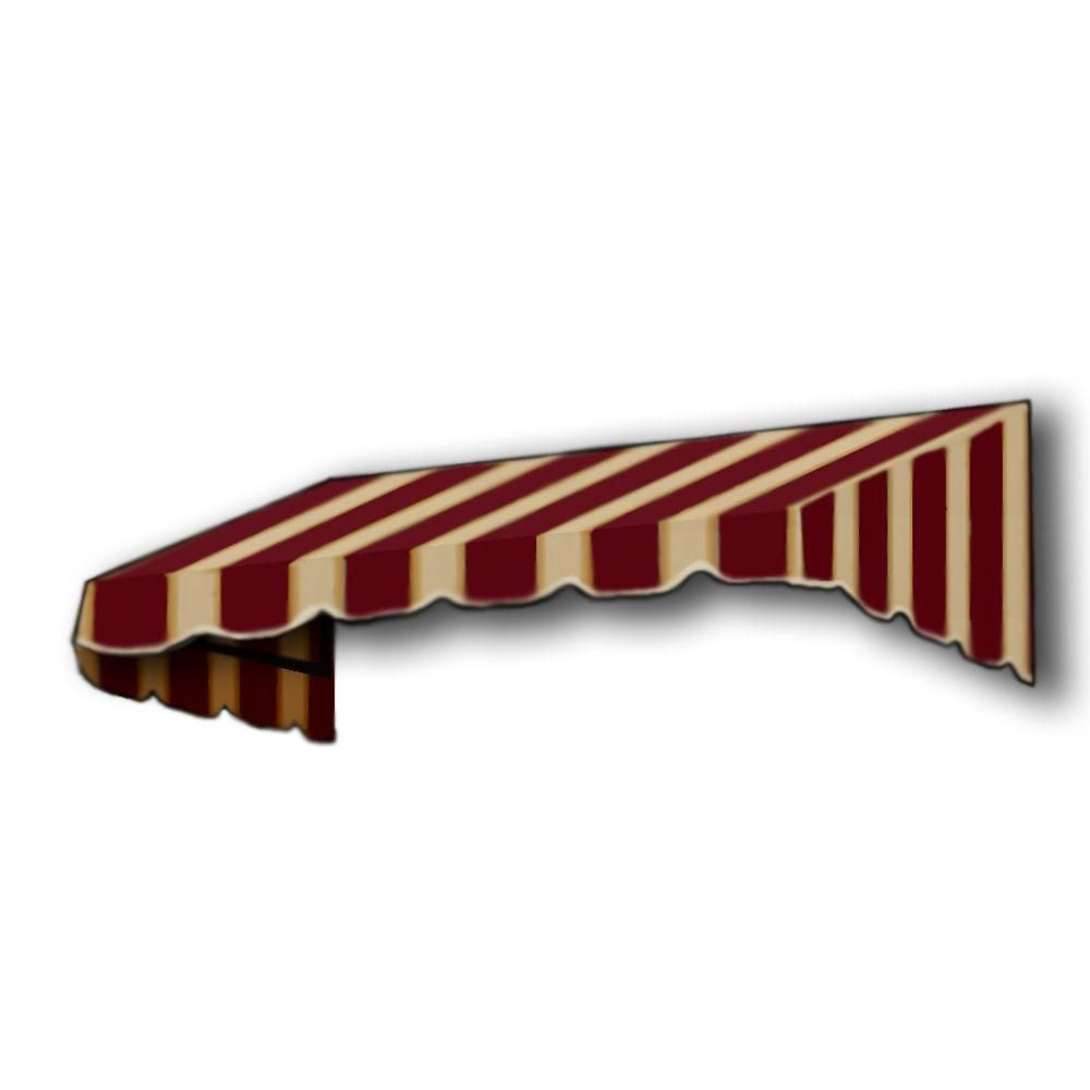 Awntech 5 Ft San Francisco Window Entry Awning 16 In H X 30 In D In Burgundy Tan Stripe Brown Tan Window Awnings Door Awnings Awning Accessories