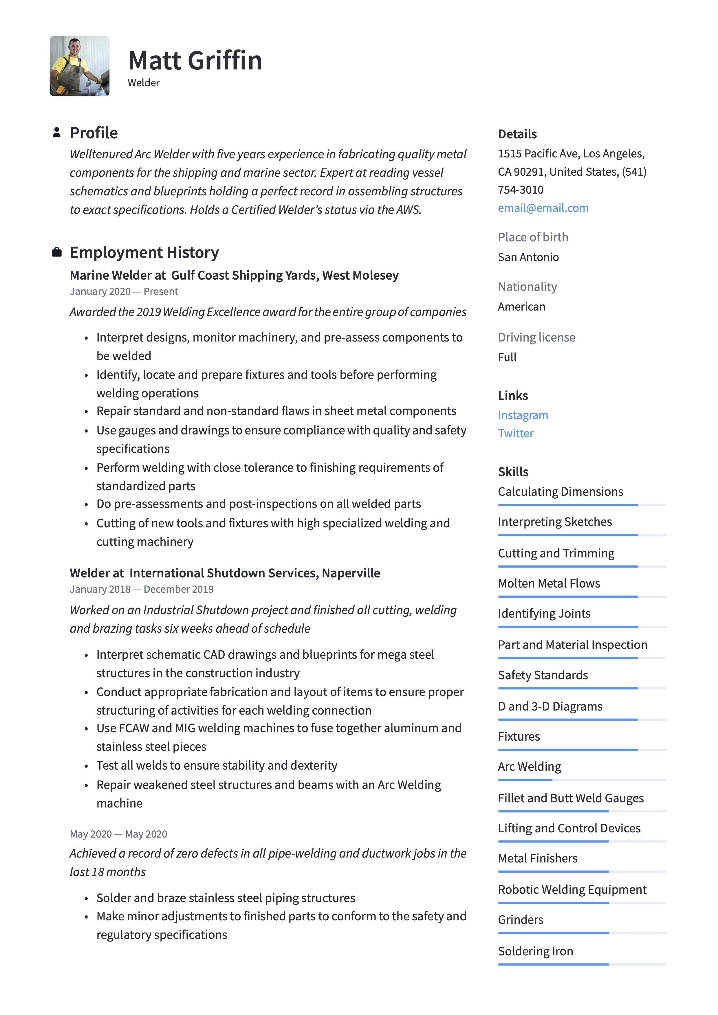 Welder Resume Sample Resume Examples Resume Resume Guide