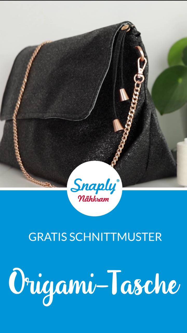 Origami Tasche nähen: Kostenloses Schnittmuster für eine Handtasche aus Kunstleder #snaply #snaplymagazin #schnittmuster #schnittmusterfreebie #nähenfürmich #taschennähen