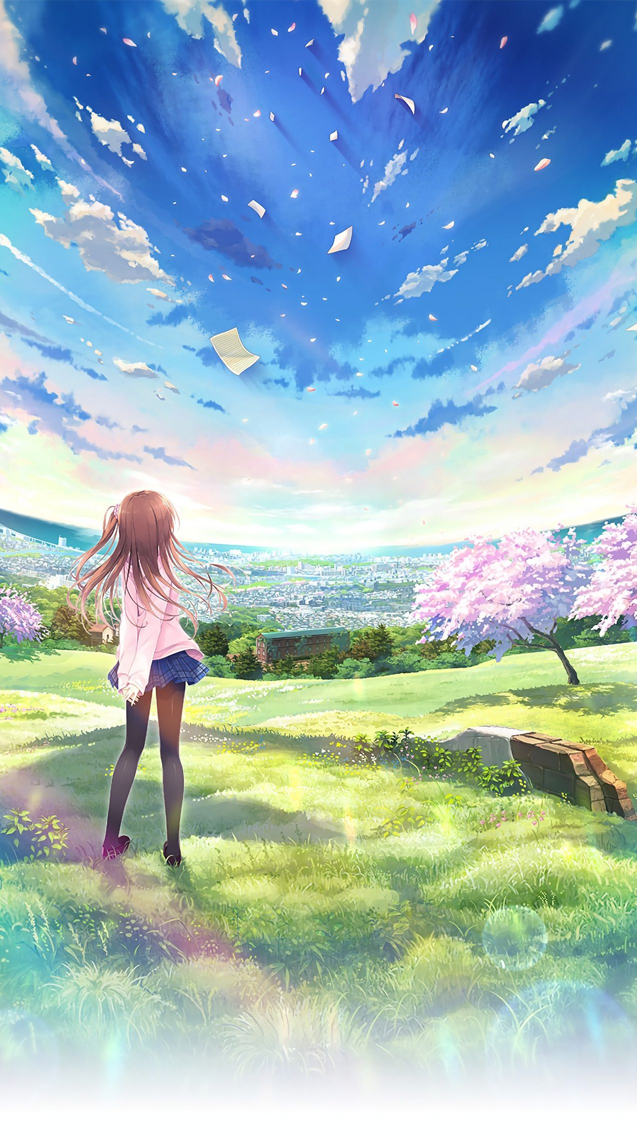 Anime World Beautiful Girl Sky Iphone Wallpaper Anime Scenery