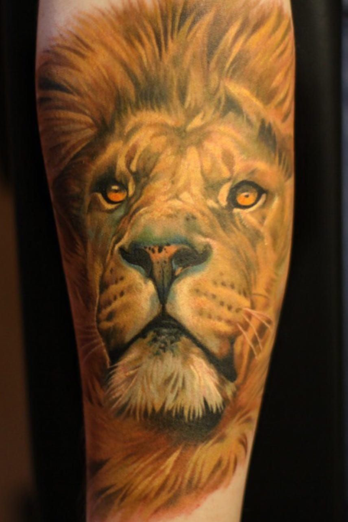 Realistic Color Lion Portrait Tattoo Made By Giena Revess A Traveling Tattoo Artist Sleeve Tattoo In 2020 Portrait Tattoo Tattoo Artists Wildlife Tattoo