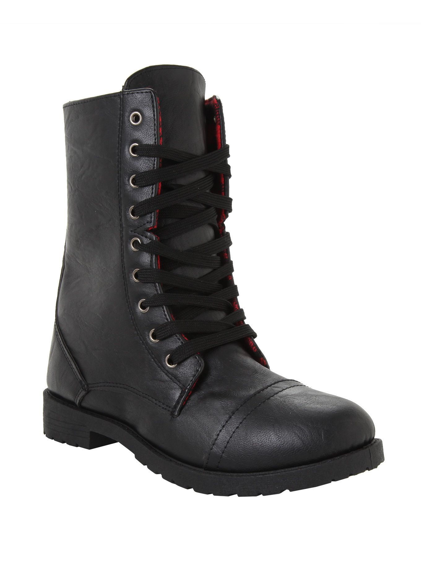 Black Red Plaid Lined Combat Boots