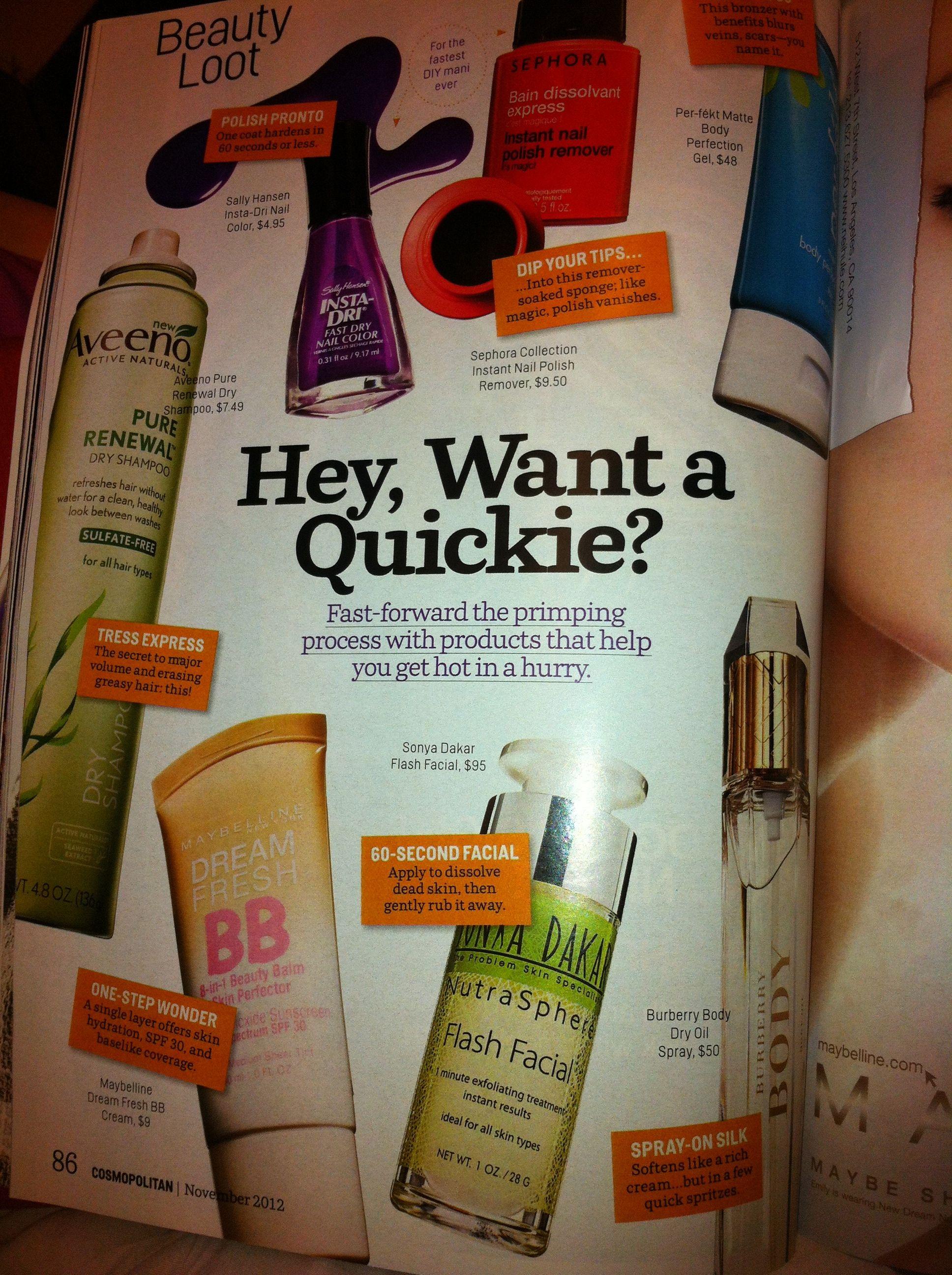 "@Cosmopolitan Magazine 's Beauty Loot""Hey, Want a Quickie?"" @sonyadakar NutraSphere Flash Facial"