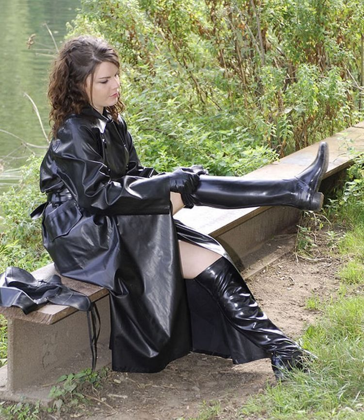 Black Rubber Raincoat And Otk Acquo Boots Acquo Boots In 2019