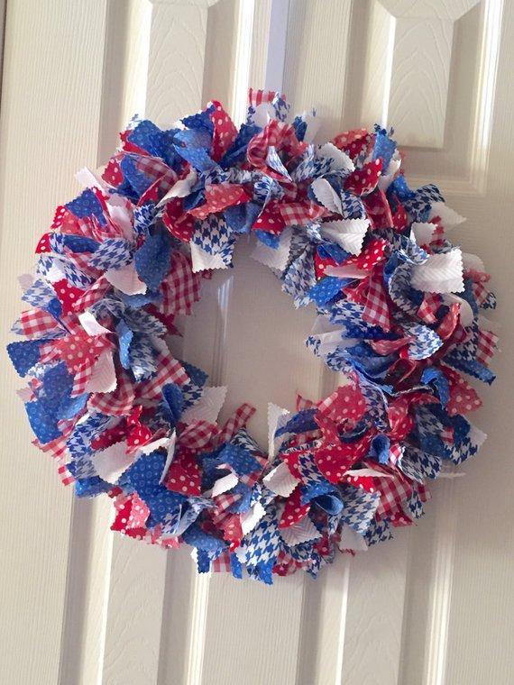 Photo of Red White Blue Rag Tie Fabric Patriotic Wreath