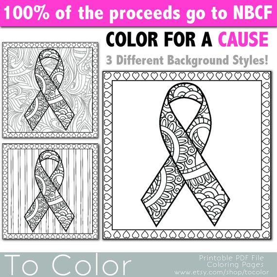 Breast Cancer Awareness Ribbon Coloring Page