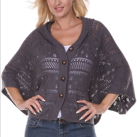 NWOT Hooded Sweater Cape NWOT super cute hooded gray button up ...