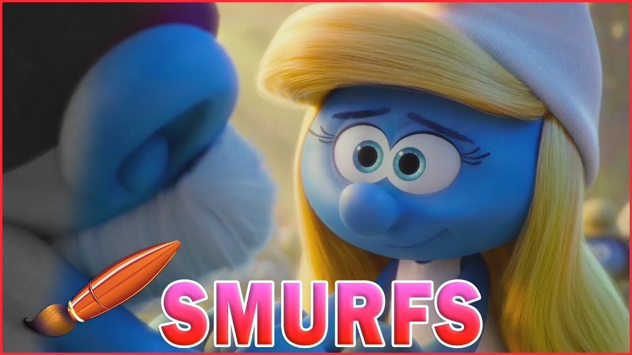 Smurfette holds Papa Smurfs Hand - Kids Coloring Book | Coloring ...