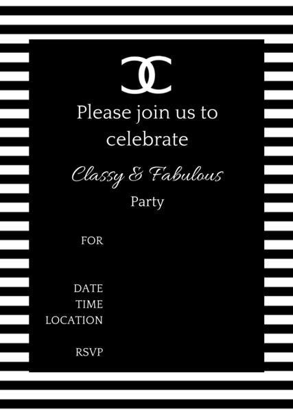 FREE Printable COCO Chanel Party Invitations 22nd birthday party