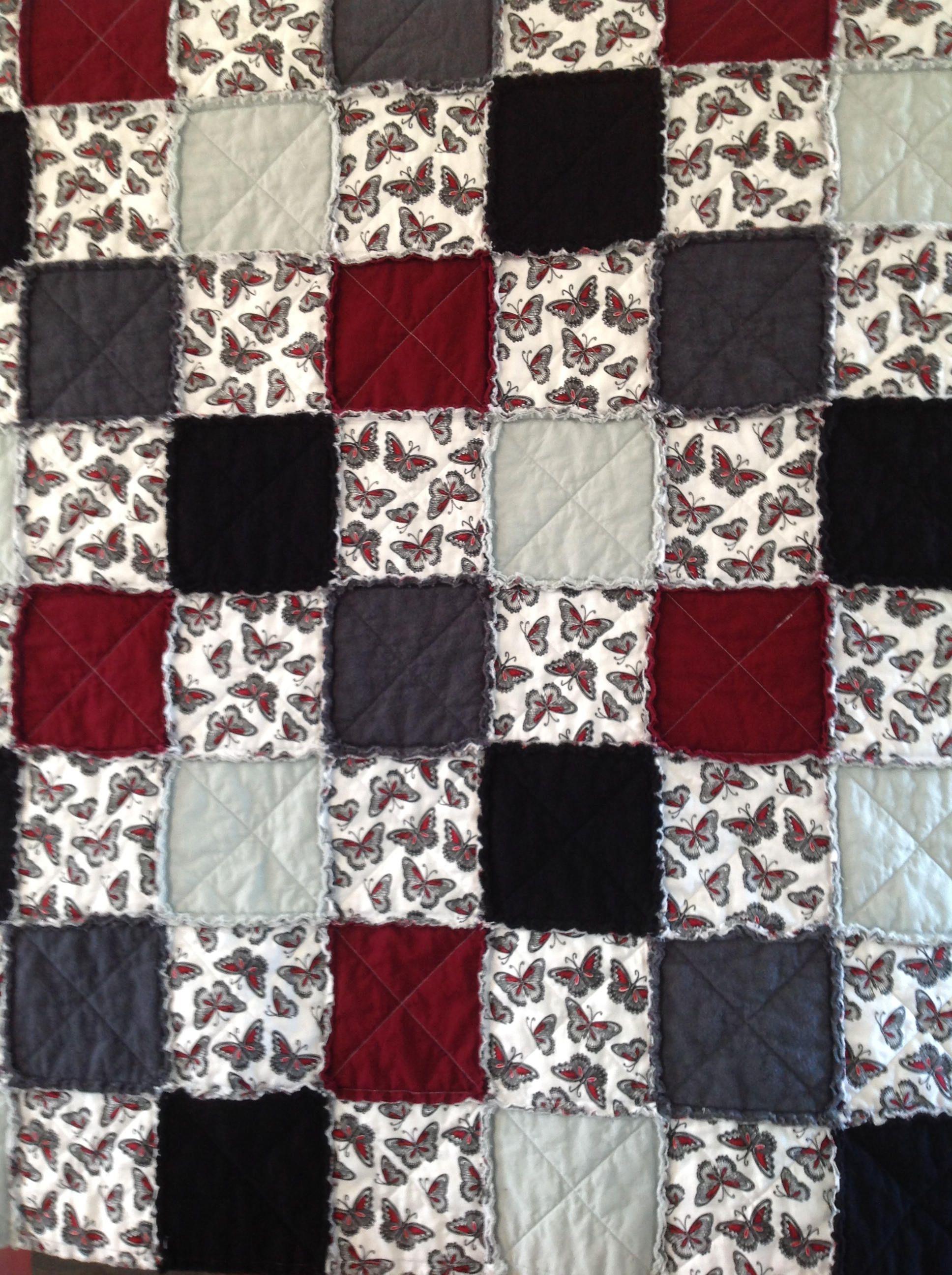 Rag Quilt, Lap Quilt, Homemade Quilt, Fall Quilt, Butterfly ... : black quilts for sale - Adamdwight.com