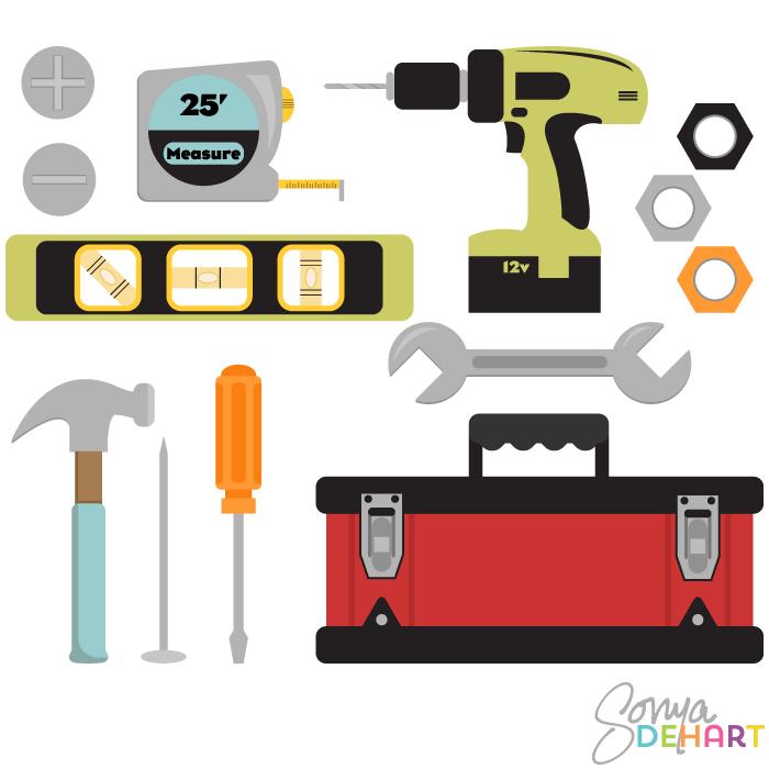 Vector Colorful Tools And Toolbox Clip Art Set Clip Art Woodworking Blueprints Art Set