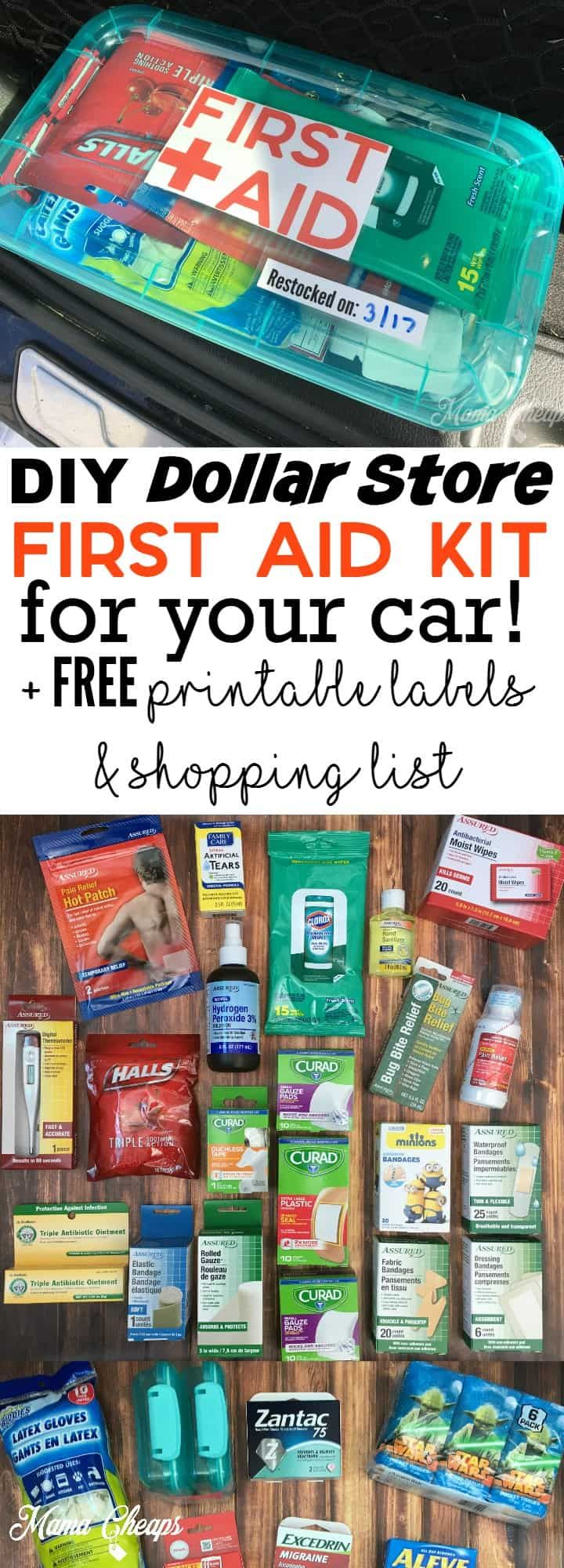 DIY Dollar Store First Aid Kit for Your Car + FREE Printable Labels and Shopping List | Mama Cheaps