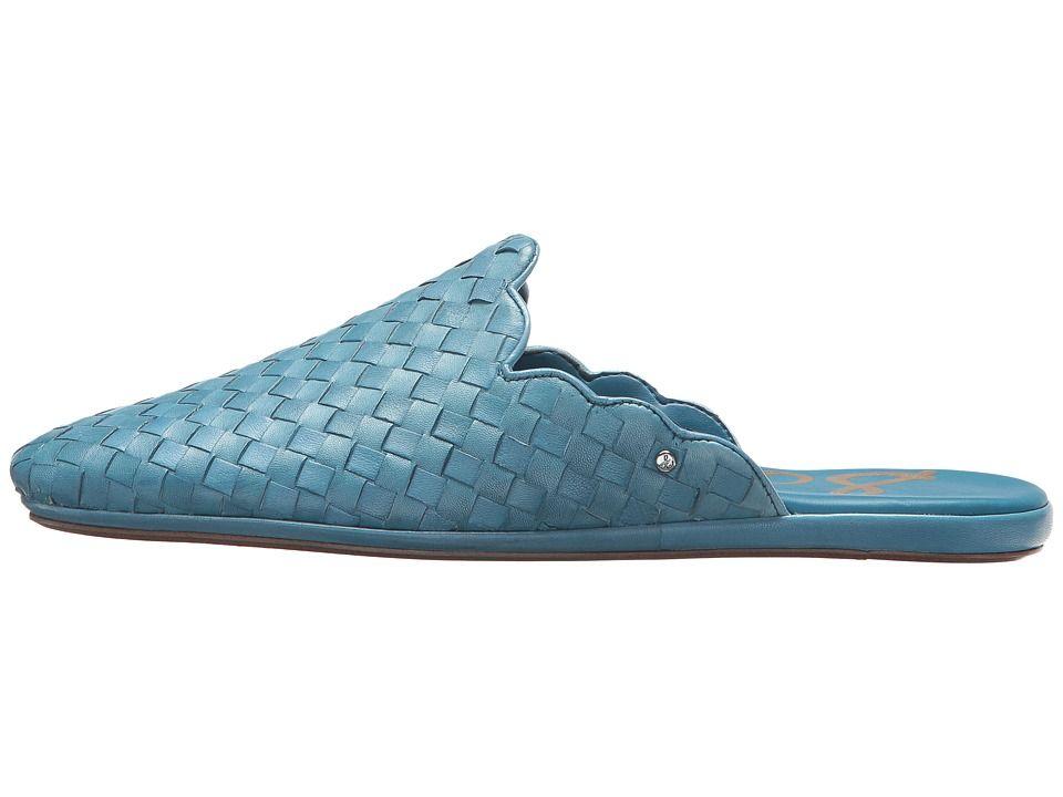 b04ac6487 Sam Edelman Katy Women s Clog Mule Shoes Moroccan Blue Woven Leather ...