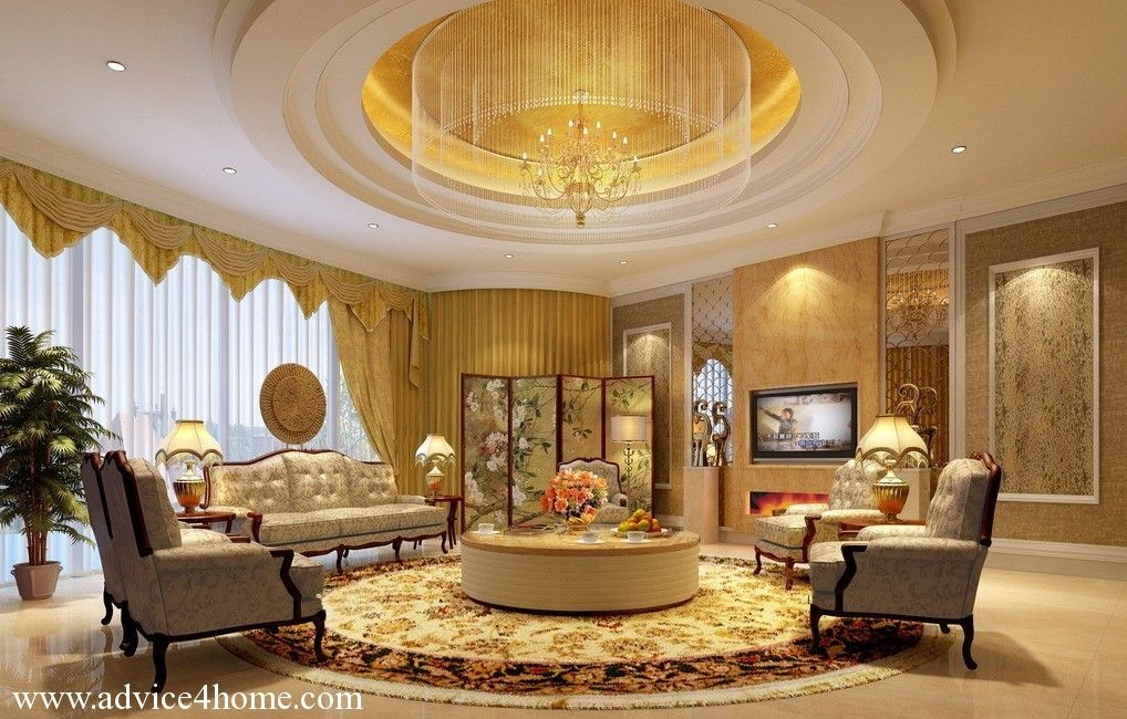 Beautiful Living Rooms Designs Glamorous Modern Round Pop Ceiling For Living Room With Beautiful Curtains Design Ideas