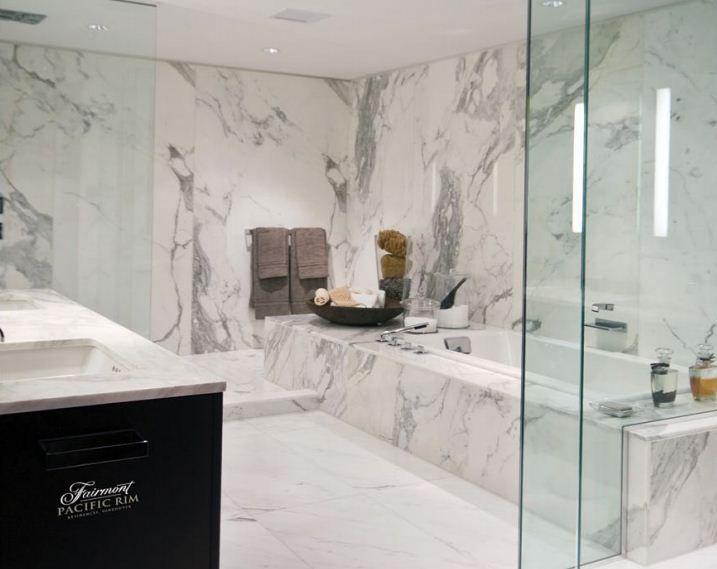 Marble slab walls and shower/bath detail.   Bella Vita Villa ...