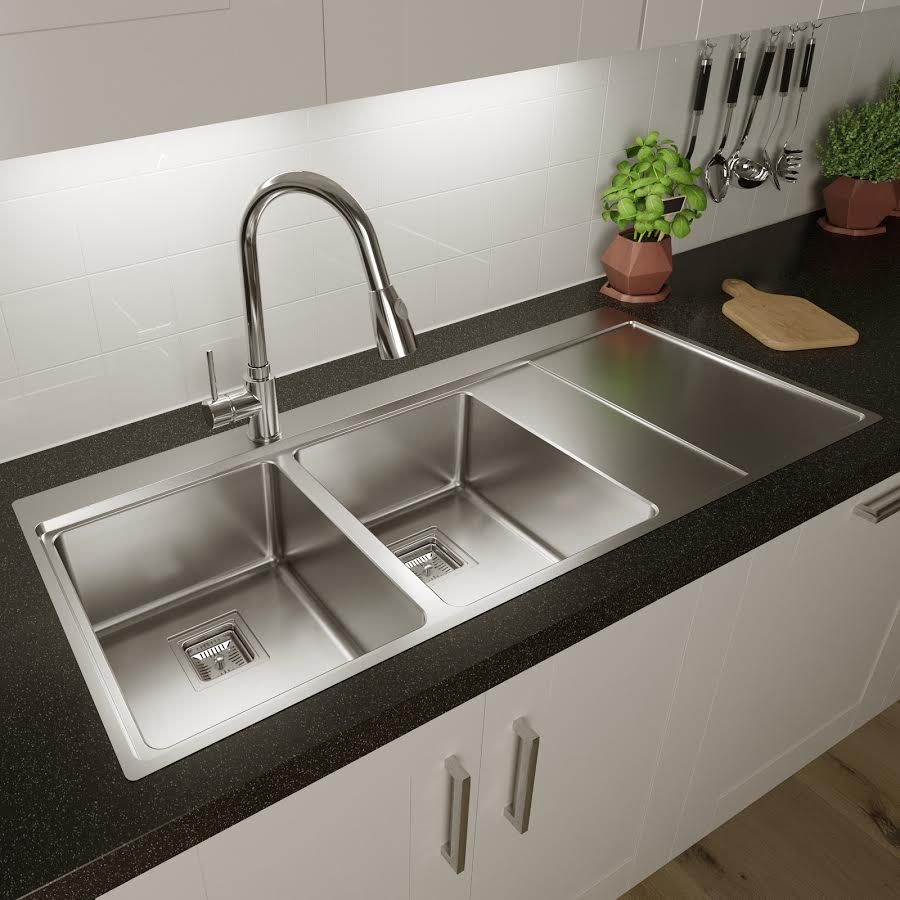 Sauber 2 Bowl Square Inset Stainless Steel Sink Right Hand Drainer Stainless Steel Sinks Inset Sink Sink