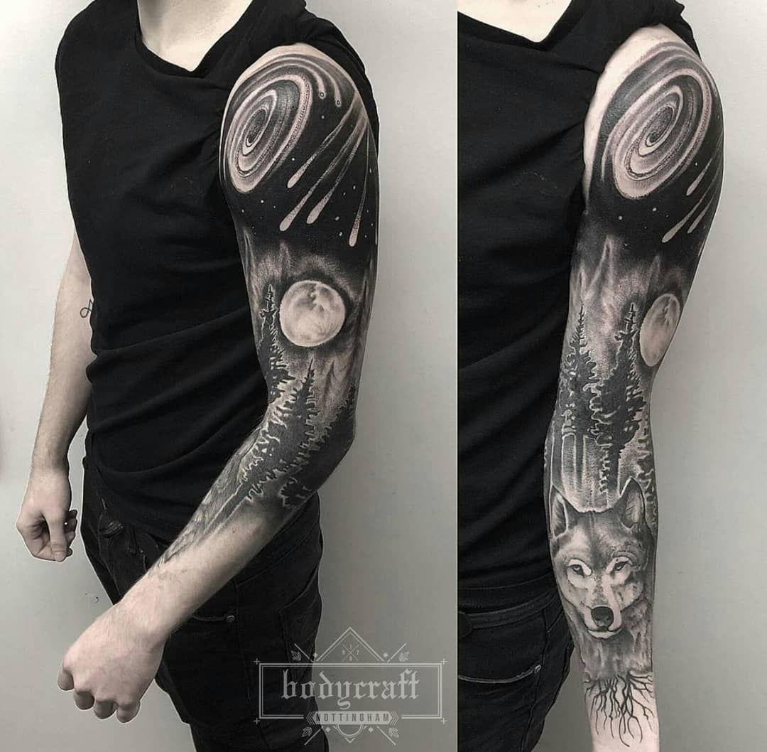Nottingham Uk On Instagram Wolf Galaxy Sleeve Artist Kev Instagram Kevrichardsontattoo Studio Bodycr Galaxy Tattoo Sleeve Sleeve Tattoos Tattoos For Guys