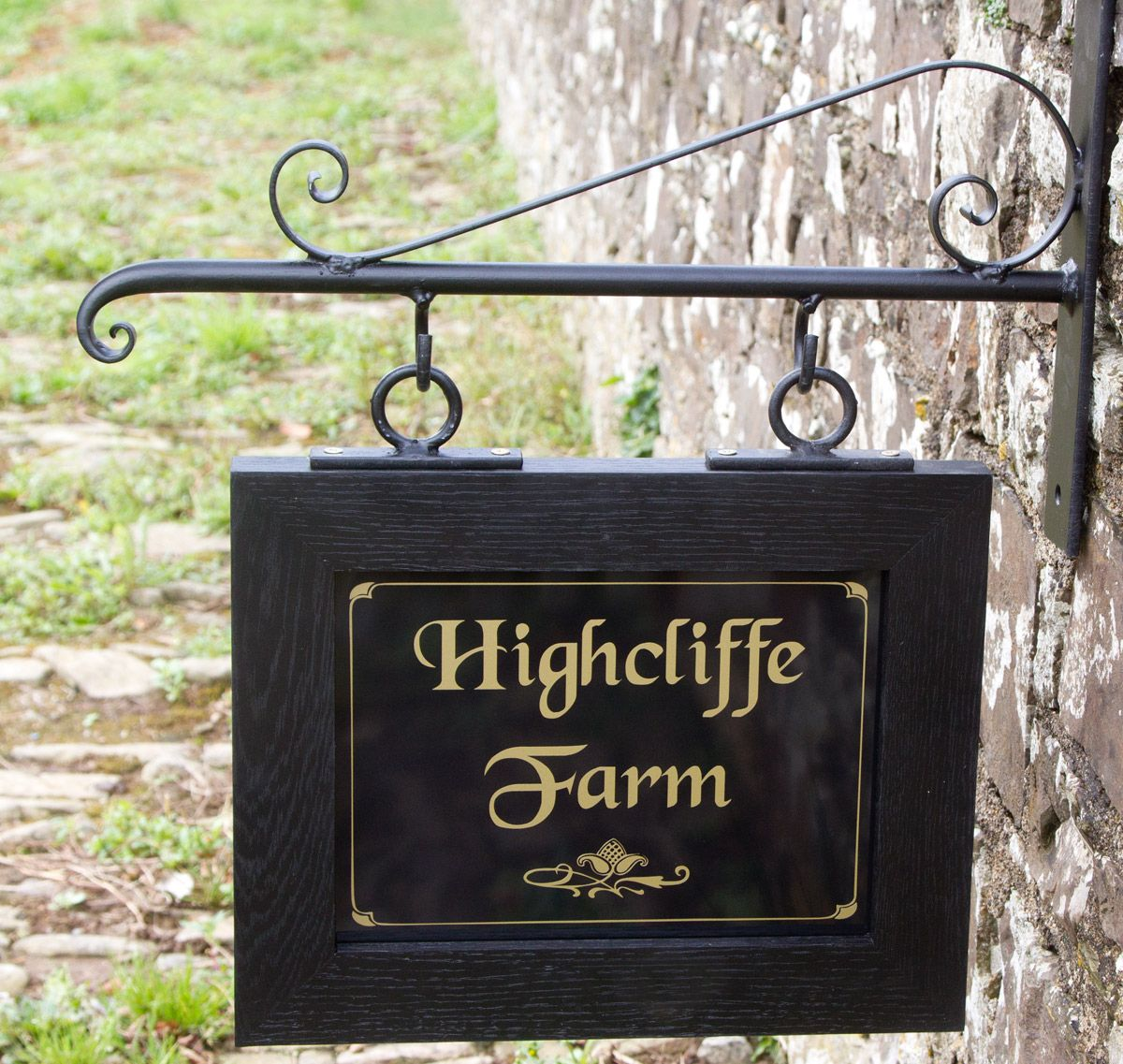 Hanging Oak Framed House Sign Wrought Iron Scroll Bracket With Extra Top Scroll Lettering Black Chancery In Gold Border B174 Home Signs Oak Frame House Shop Signs