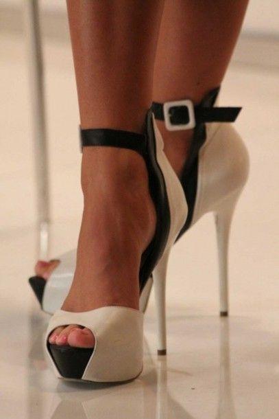 shoes heels open toe stilettos buckle white cream black fashion ...