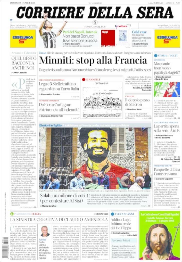 Portada de Corriere della Sera (Milan,Italia) Foto