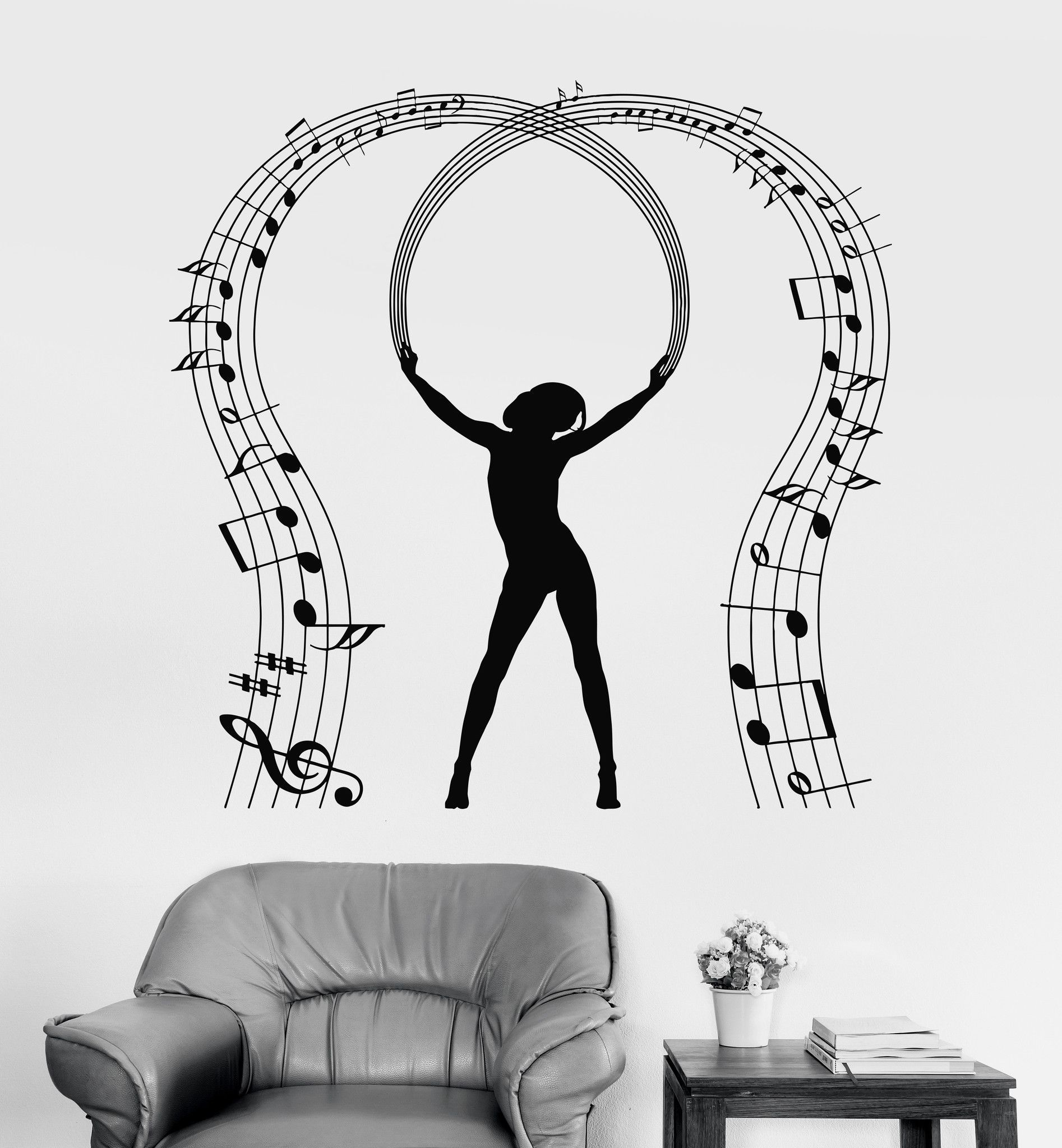 Vinyl wall decal music lover notes dancing musician stickers
