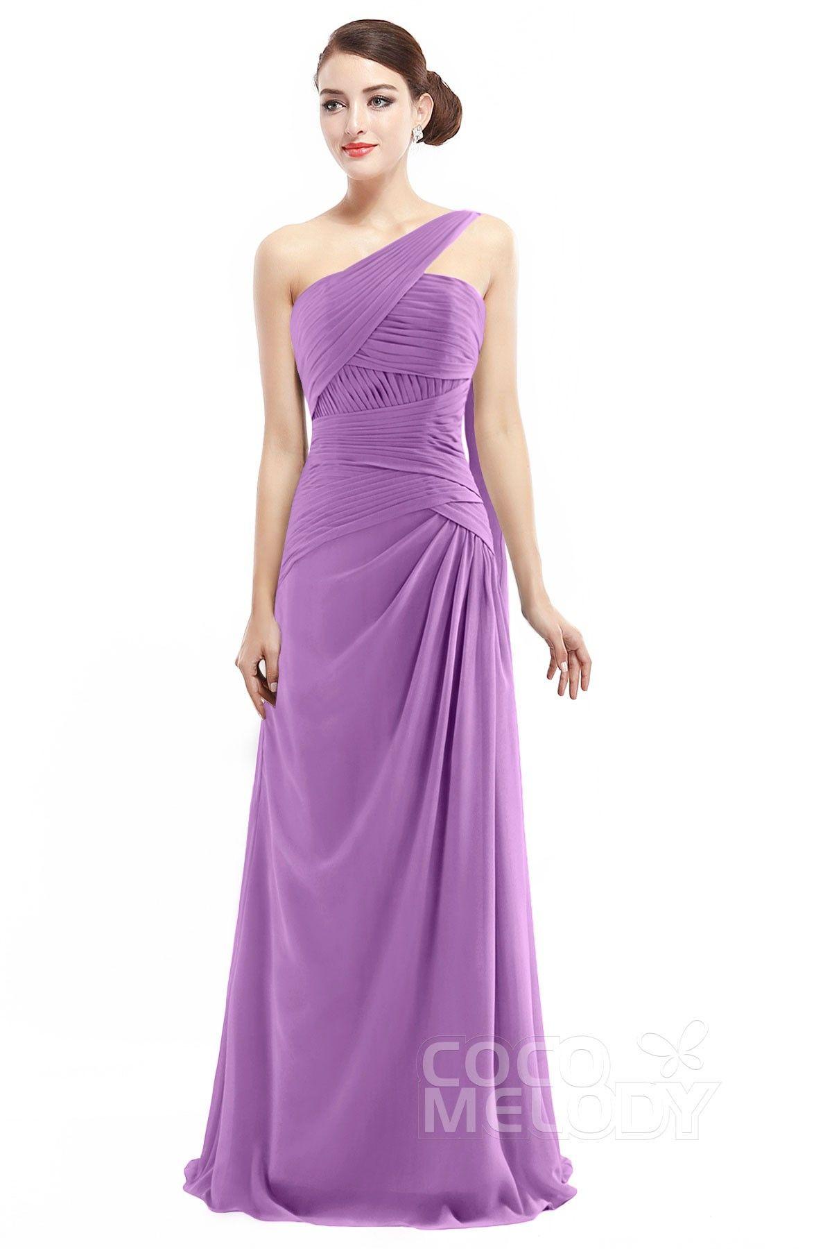 one shoulder column chiffon bridesmaid dresses