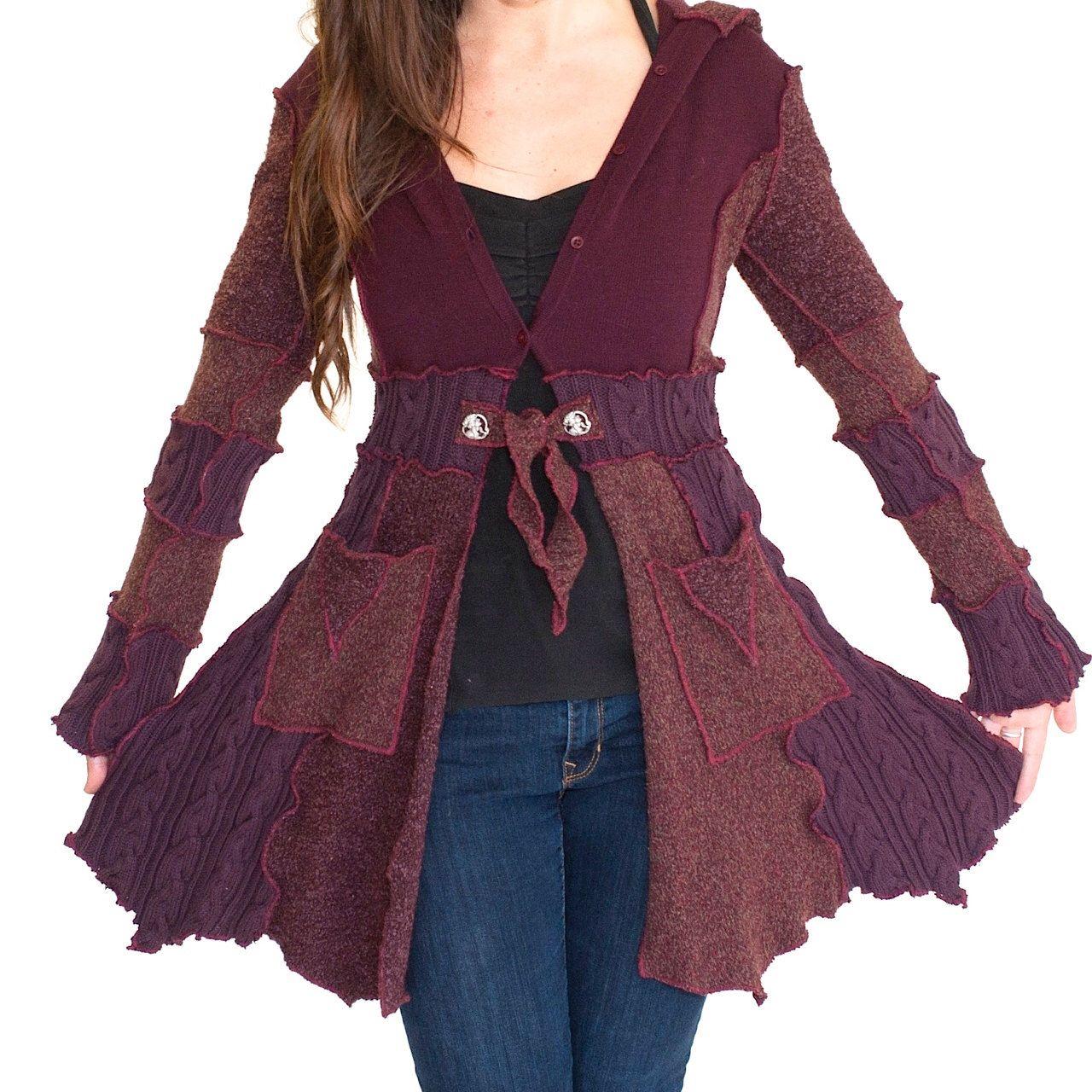 Custom Upcycled sweater coat with pockets - PIXIE COAT - hood ...