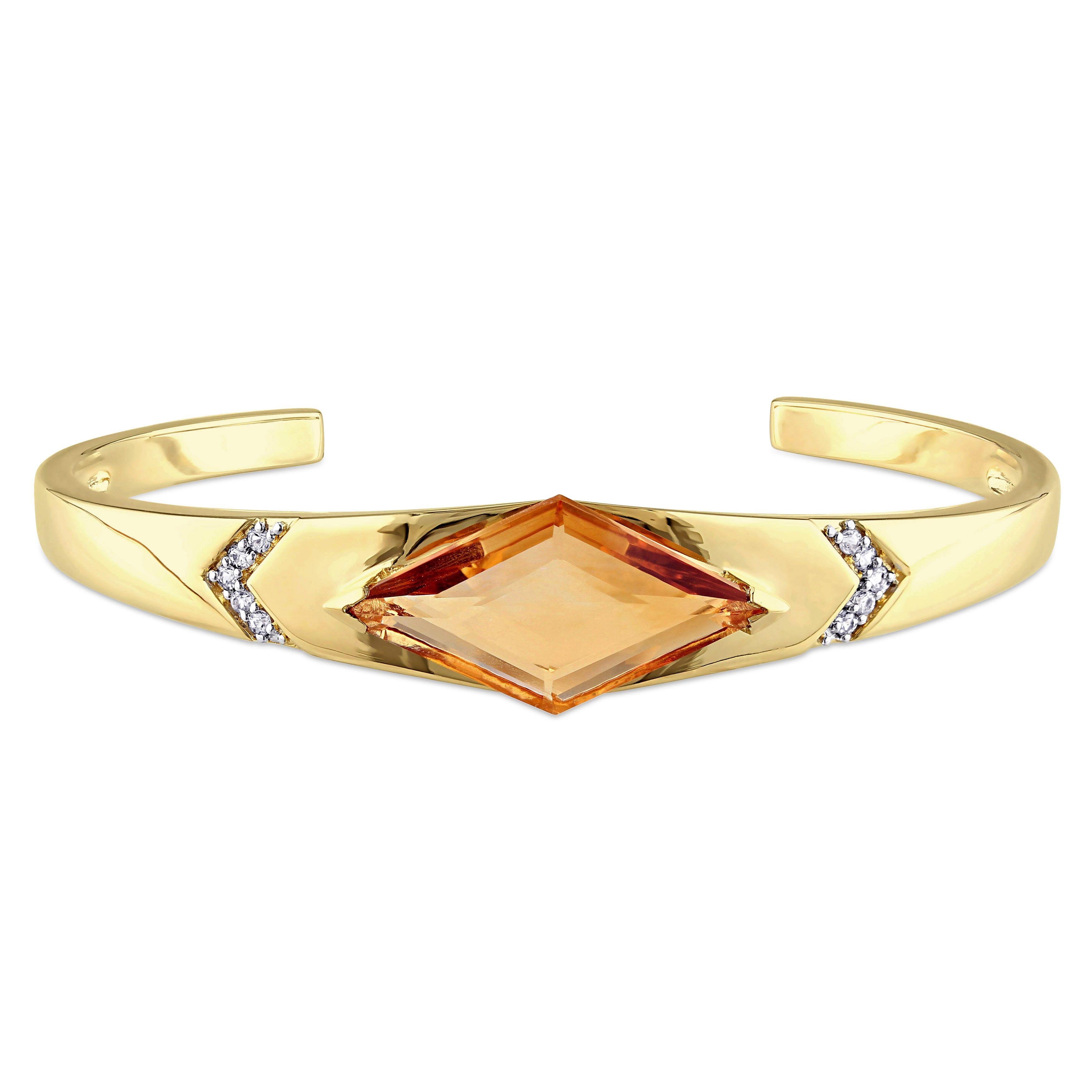 V italia citrine and white sapphire prism bangle bracelet in k