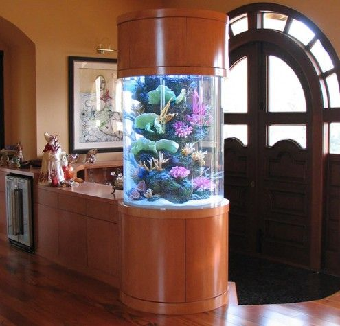 Inspiring Rounder Pillar Aquarium Design For Living Room Entrance Door Home Decor On Decorating