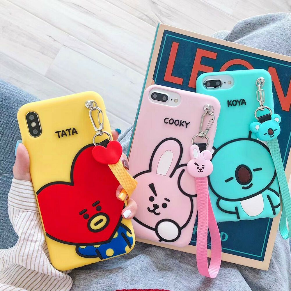 3D BTS BT21 COOKY TATA Soft Silica Gel Phone Case Cover For iPhone ...