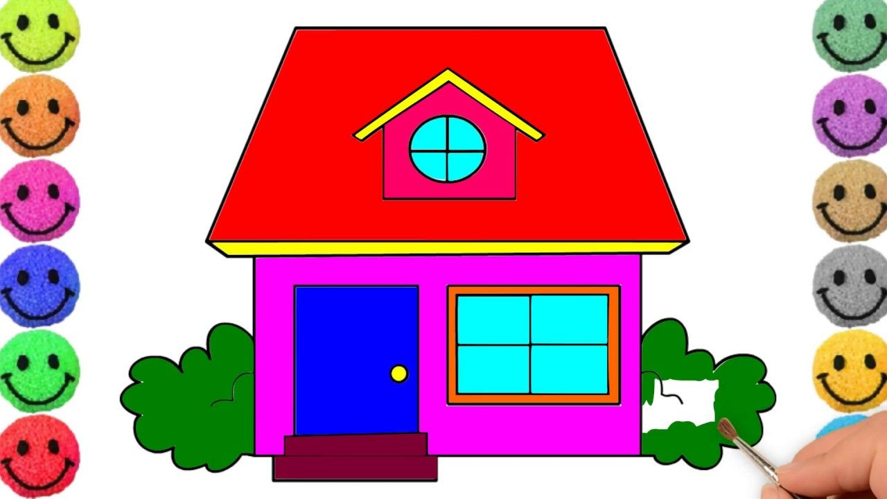 House Drawing For Kids Drawing House For Learning Colors Simple