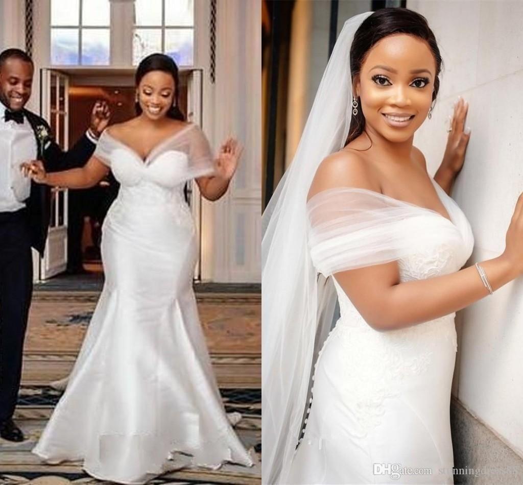 2021 Amazing V Neck South African Mermaid Wedding Dresses Cap Short Sleeves Satin Court Train Ruched Applique Cheap Wedding Bridal Gowns From Stunningdress88 Plus Wedding Dresses Detachable Train Wedding Dress [ 950 x 1024 Pixel ]