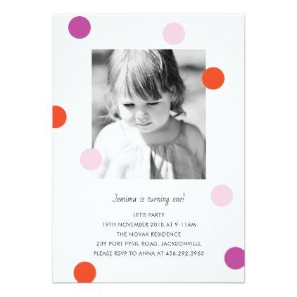 Confetti Dots Birthday Invitation For 1st Birthday Rsvp Gifts Card