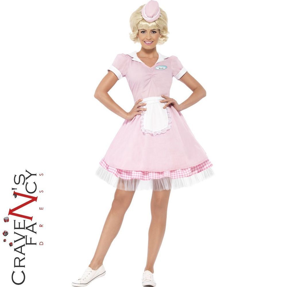 50s American Diner Girl Costume Waitress Womens Ladies Grease Fancy Dress Outfit Decade Party