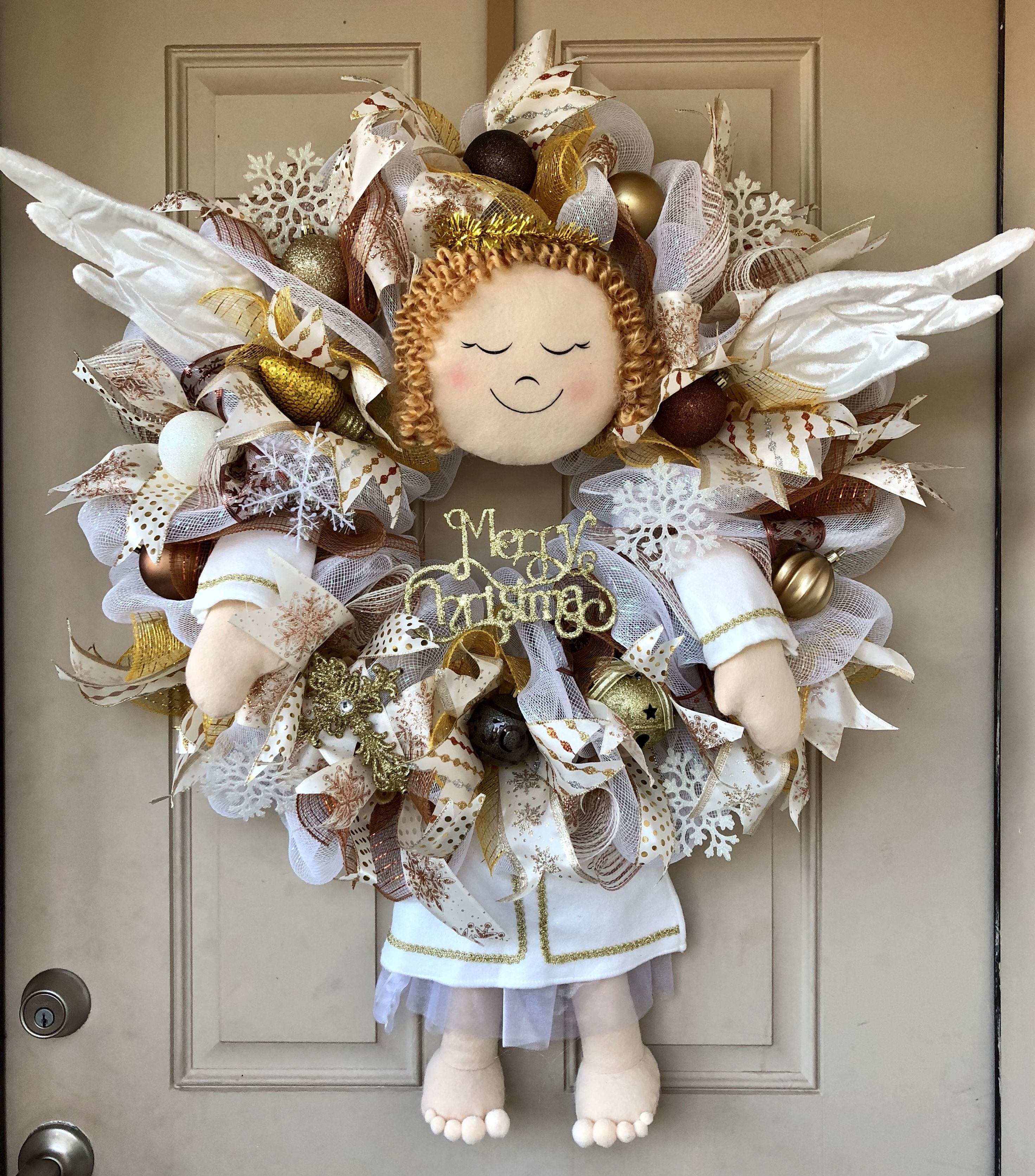An Adorable Christmas Angel Wreath With Plush Head, Arms, Dangling