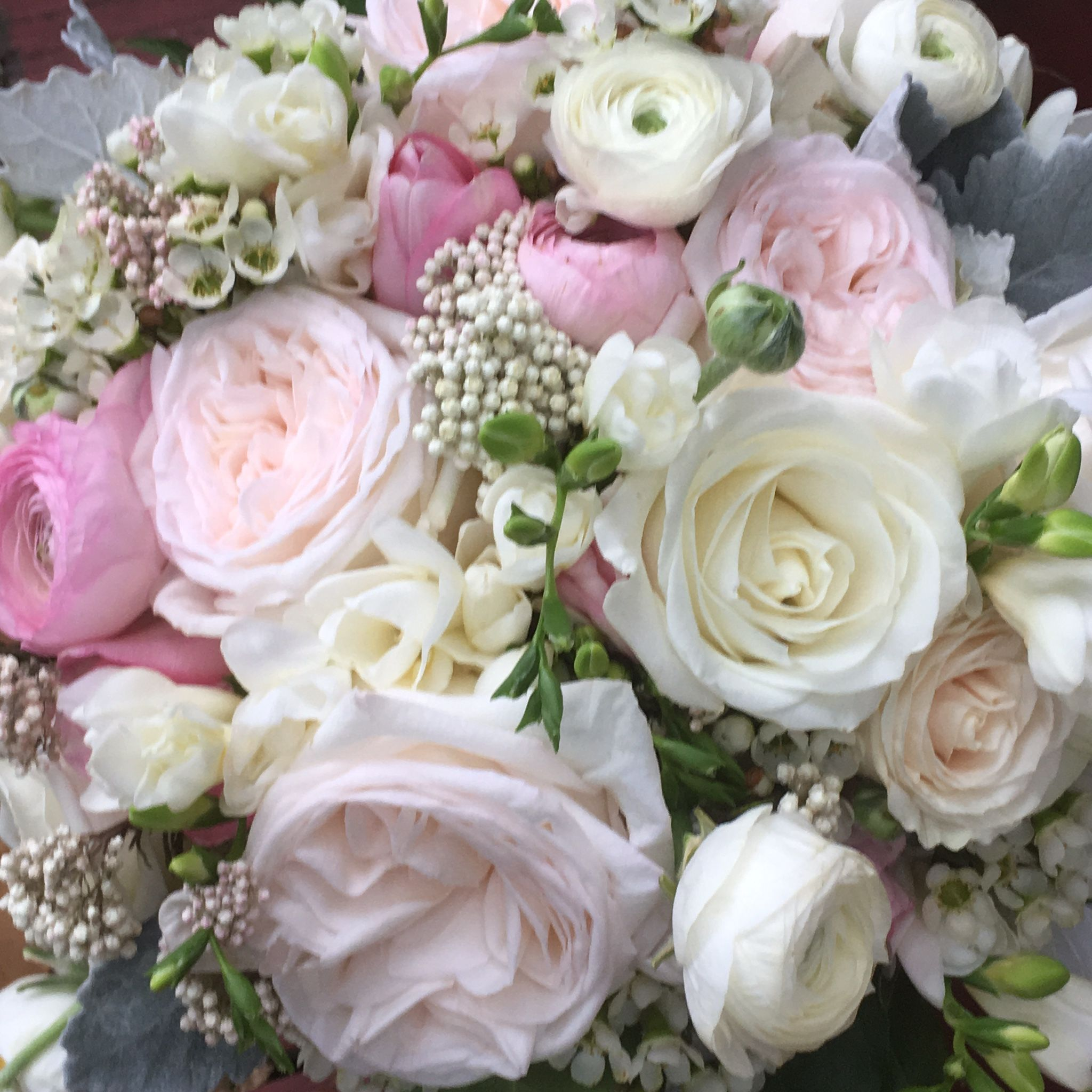 O Hara Garden Roses And Tibet Roses Ranunculus Wax Flower And Dusty Miller Wax Flowers Flowers Summer Flowers