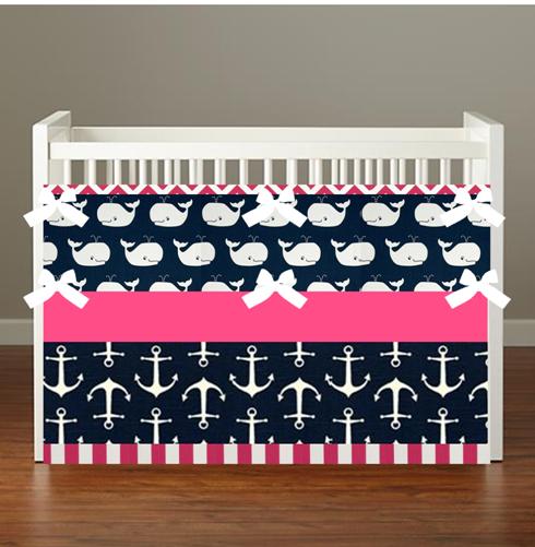 Nautical Pink Navy Whale Crib Bedding Nautical Nursery Girl