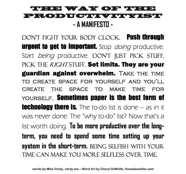 A Productivity Manifesto Posterized
