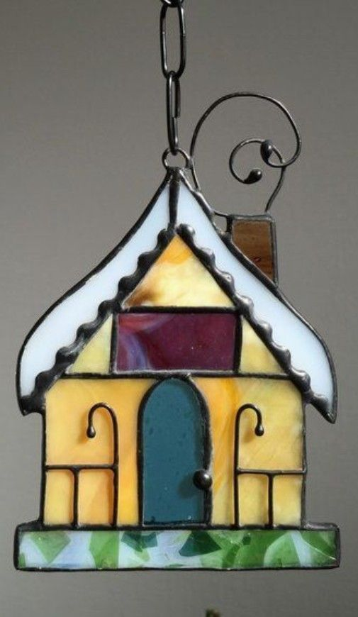 Stained glass house, Christmas ornament Christmas stained glass
